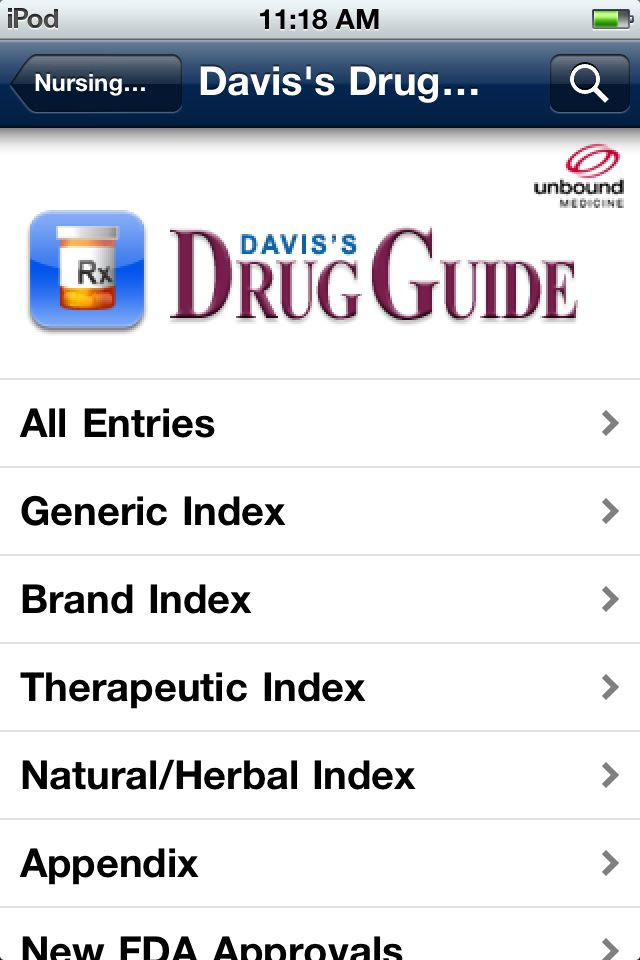 iPod and iPhone screenshot - Davis' Drug Guide